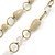 Long Milky White/ Beige Glass and Ceramic Bead, Gold Round Link Necklace - 100cm L - view 3