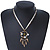 Vintage Inspired Mother of Pearl, Crystal, Glass Bead Floral Pendant On Silk Ribbon & Gold Tone Chain Necklace - 40cm Length/ 5cm Extender - view 4