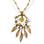 Vintage Inspired Mother of Pearl, Crystal, Glass Bead Floral Pendant On Silk Ribbon & Gold Tone Chain Necklace - 40cm Length/ 5cm Extender - view 5