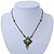 Vintage Inspired Green, Yellow Square Pendant On Bronze Tone Beaded Chain Necklace - 36cm Length/ 8cm Extension - view 2
