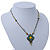 Vintage Inspired Green, Yellow Square Pendant On Bronze Tone Beaded Chain Necklace - 36cm Length/ 8cm Extension - view 9