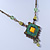 Vintage Inspired Green, Yellow Square Pendant On Bronze Tone Beaded Chain Necklace - 36cm Length/ 8cm Extension - view 10