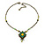 Vintage Inspired Green, Yellow Square Pendant On Bronze Tone Beaded Chain Necklace - 36cm Length/ 8cm Extension - view 6