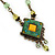 Vintage Inspired Green, Yellow Square Pendant On Bronze Tone Beaded Chain Necklace - 36cm Length/ 8cm Extension - view 3