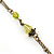 Vintage Inspired Green, Yellow Square Pendant On Bronze Tone Beaded Chain Necklace - 36cm Length/ 8cm Extension - view 7