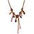 Vintage Inspired Purple Crystal, Enamel Floral Necklace In Bronze Tone - 38cm L/ 5cm Ext