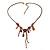 Vintage Inspired Purple Crystal, Enamel Floral Necklace In Bronze Tone - 38cm L/ 5cm Ext - view 2