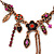Vintage Inspired Purple Crystal, Enamel Floral Necklace In Bronze Tone - 38cm L/ 5cm Ext - view 3