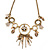 Vintage Inspired Floral, Chain Tassel Necklace In Antique Gold Tone - 37cm L/ 8cm Ext