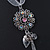 Crystal Flower Pendant With Charms With Silver Tone Chain & White Organza Ribbon - 38cm Length/ 7cm Extension - view 7