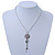 Crystal Flower Pendant With Charms With Silver Tone Chain & White Organza Ribbon - 38cm Length/ 7cm Extension - view 8