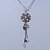 Crystal Flower Pendant With Charms With Silver Tone Chain & White Organza Ribbon - 38cm Length/ 7cm Extension - view 9