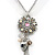 Crystal Flower Pendant With Charms With Silver Tone Chain & White Organza Ribbon - 38cm Length/ 7cm Extension - view 2