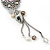 Crystal Flower Pendant With Charms With Silver Tone Chain & White Organza Ribbon - 38cm Length/ 7cm Extension - view 3