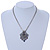Vintage Inspired Filigree, Grey, Blue, Purple Crystal Diamond Pendant With Pewter Tone Chains - 40cm L/ 5cm Ext - view 2