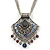 Vintage Inspired Filigree, Grey, Blue, Purple Crystal Diamond Pendant With Pewter Tone Chains - 40cm L/ 5cm Ext