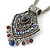 Vintage Inspired Filigree, Grey, Blue, Purple Crystal Diamond Pendant With Pewter Tone Chains - 40cm L/ 5cm Ext - view 5