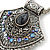 Vintage Inspired Filigree, Grey, Blue, Purple Crystal Diamond Pendant With Pewter Tone Chains - 40cm L/ 5cm Ext - view 8