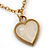 Romantic Mother of Pearl Triple Heart Necklace In Gold Plating - 38cm Length/ 7cm Extension - view 5