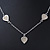 Romantic Mother of Pearl Triple Heart Necklace In Silver Tone Metal - 38cm Length/ 7cm Extension - view 4
