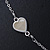 Romantic Mother of Pearl Triple Heart Necklace In Silver Tone Metal - 38cm Length/ 7cm Extension - view 5