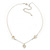 Romantic Mother of Pearl Triple Heart Necklace In Silver Tone Metal - 38cm Length/ 7cm Extension - view 8