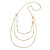Long Delicate Beaded Layered Necklace In Gold Tone - 106cm L
