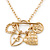 Gold Tone Multi Heart Charm Pendant With 34cm L/ 7cm Ext Chain