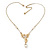 Crystal, Simulated Pearl Bead Dove Bird Pendant With Gold Tone Chain - 36cm L/ 8cm Ext - view 5