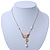 Crystal, Simulated Pearl Bead Dove Bird Pendant With Gold Tone Chain - 36cm L/ 8cm Ext - view 3