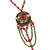 Cranberry Red Enamel Floral, Bead, Chain Pendant With 40cm L/ 7cm Ext Bronze Tone Acrylic Bead Chain - view 2