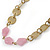 Vintage Inspired Dusty Pink, Nude Glass Bead and Antique Gold Coin Long Necklace - 100cm L - view 3