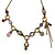 Victorian Style Crystal, Acrylic, Enamel Bead Charm Necklace In Bronze Tone (Pink, Violet) - 40cm Length/ 7cm Extension