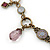 Victorian Style Crystal, Acrylic, Enamel Bead Charm Necklace In Bronze Tone (Pink, Violet) - 40cm Length/ 7cm Extension - view 4