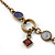 Victorian Style Crystal, Acrylic, Enamel Bead Charm Necklace In Bronze Tone (Pink, Violet) - 40cm Length/ 7cm Extension - view 8
