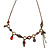 Victorian Style Crystal, Acrylic, Enamel Bead Charm Necklace In Bronze Tone (Red, Violet) - 40cm L/ 7cm Ext