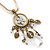 Vintage Inspired Floral, Bead Charm Pendant With Antique Gold Chain & White Suede Cord Necklace - 36cm Length/ 7cm Extension - view 2