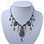 Vintage Inspired Light Blue, Olive Bead, Chain Charm Necklace In Pewter Tone - 32cm L/ 6cm Ext - view 5
