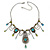 Vintage Inspired Light Blue, Olive Bead, Chain Charm Necklace In Pewter Tone - 32cm L/ 6cm Ext - view 2
