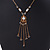 Gold Tone Glass Beaded Tassel with Chain Necklace - 40cm L/ 5cm Ext/ 9cm Tassel - view 9