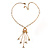 Gold Tone Glass Beaded Tassel with Chain Necklace - 40cm L/ 5cm Ext/ 9cm Tassel - view 7
