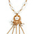 Gold Tone Glass Beaded Tassel with Chain Necklace - 40cm L/ 5cm Ext/ 9cm Tassel - view 6