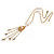 Gold Tone Glass Beaded Tassel with Chain Necklace - 40cm L/ 5cm Ext/ 9cm Tassel - view 4