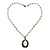 Victorian Style Pink Cameo Pendant With Faux Pearl Beaded Chain In Bronze Tone Metal - 38cm Length - view 4