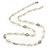Long Cream Acrylic Bead Necklace In Silver Tone - 82cm L