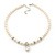 Prom, Bridal, Wedding 8mm, 10mm White Simulated Glass Pearl Necklace With Crystal Rings - 38cm Length/ 6cm Extension