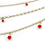 Gold Tone Multi Chain with Red Charm Bead Necklace - 52cm L - view 8