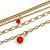 Gold Tone Multi Chain with Red Charm Bead Necklace - 52cm L - view 6