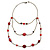Retro Style Layered Pink/ Red Cotton, Acrylic Bead Necklace In Bronze Tone Metal - 74cm L - view 9