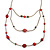 Retro Style Layered Pink/ Red Cotton, Acrylic Bead Necklace In Bronze Tone Metal - 74cm L - view 10